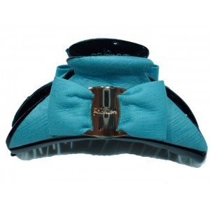 Pince cheveux noeud grand modèle - turquoise