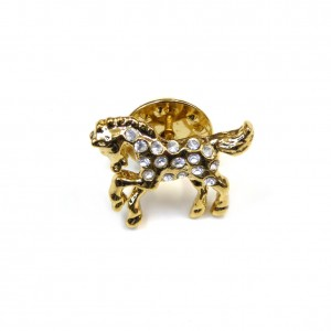 Broche pin's cheval 1.8cmx1.5cm doré