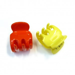 Pince cheveux crabe 2pcs 3.5cmx4cm - orange / jaune