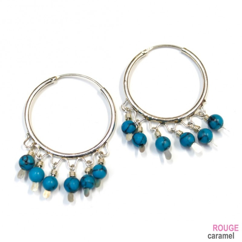 boucles d 39 oreilles cr oles argent avec pendants turquoises diam 25mm. Black Bedroom Furniture Sets. Home Design Ideas
