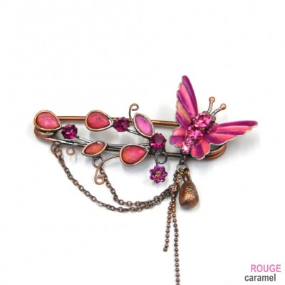 Broche épingle à nourrice 7cm motif papillon en émail - rose