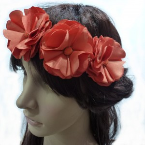 Headband 3 fleurs - orange