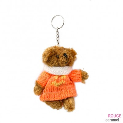 porte clef nounours avec pull-over orange 11cm