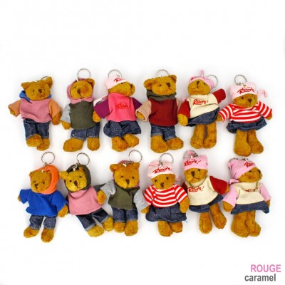 12 pcs Porte clés nounours avec sweat 13cm couleurs assorties