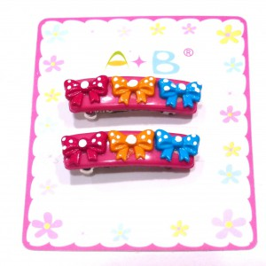 Barrette cheveux enfant noeuds lot 2pcs - rose