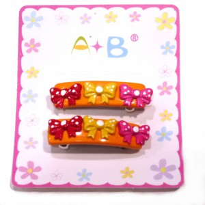 Barrette cheveux enfant noeuds lot 2pcs - orange