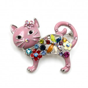 Broche chat en émail et strass 4.5cmx3.5cm - rose