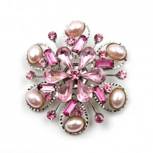 Broche bijoux en strass diamètre 4.5cm - rose