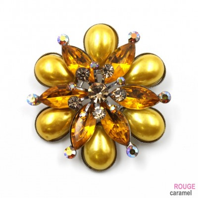 Broche bijoux en perles et strass diamètre 4.5cm - orange