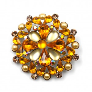 Broche bijoux en strass diamètre 4.8cm - orange