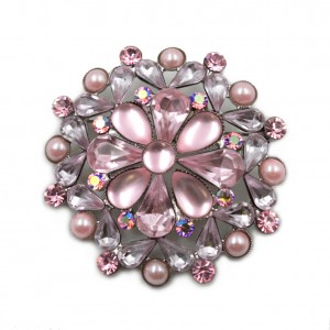 Broche bijoux en strass diamètre 4.8cm - rose
