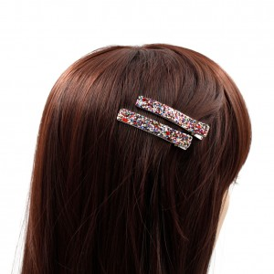 Lot de 2 Pince cheveux paillettes 6cm - multicolore