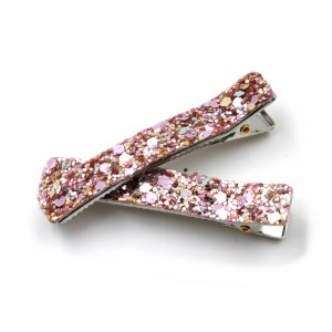 Lot de 2 Pince cheveux paillettes 6cm - rose multi
