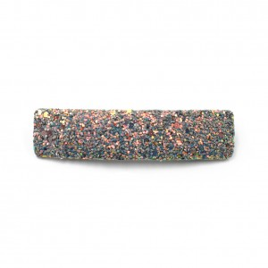 Barrette cheveux paillettes rectangulaire 9cm - gris multi