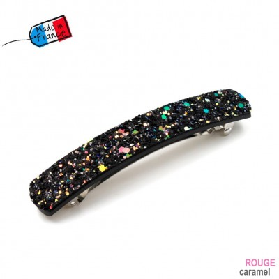 "Barrette cheveux paillettes ""Made in France"" 10cmX1,7cm - noir multi"