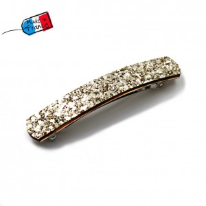 "Barrette cheveux paillettes ""Made in France"" 10cmX1,7cm - doré"