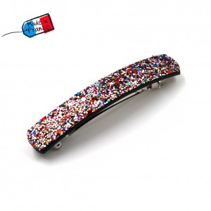 "Barrette cheveux paillettes ""Made in France"" 10cmX1,7cm - multicolore"