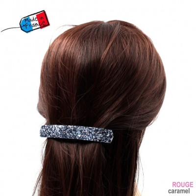 "Barrette cheveux paillettes ""Made in France"" 10cmX1,7cm - bleu"