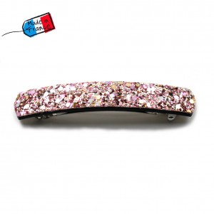 "Barrette cheveux paillettes ""Made in France"" 10cmX1,7cm - rose"