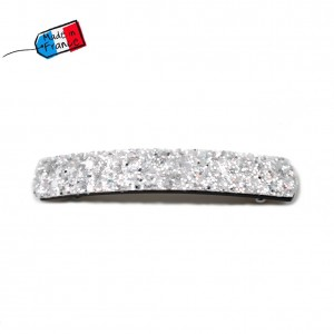 "Barrette cheveux paillettes ""Made in France"" 10cmX1,7cm - argenté"