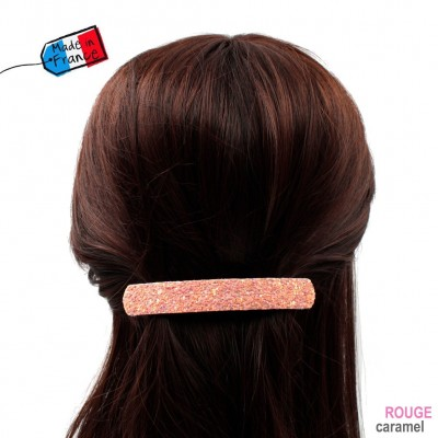 "Barrette cheveux paillettes ""Made in France"" 10cmX1,7cm - saumon"
