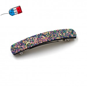"Barrette cheveux paillettes ""Made in France"" 10cmX1,7cm - violet"