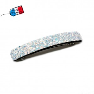 "Barrette cheveux paillettes ""Made in France"" 10cmX1,7cm - blanc irisé"