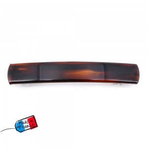 "2 barrettes cheveux classique forme rectangulaire ""Made in France"" 8.5cmx1.4cm - marron"