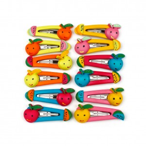 12 barrettes enfant clic clac fruit couleurs assorties