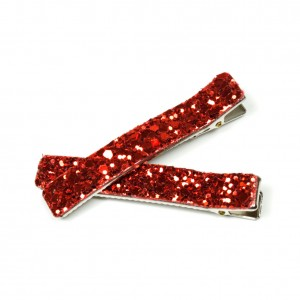 Lot de 2 Pince cheveux paillettes 6cm - rouge orangé