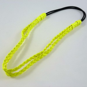 Headband tressé double rangs - jaune fluo