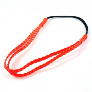 Headband tressé double rangs - orange fluo