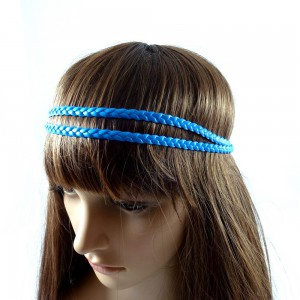 Headband tressé double rangs - bleu