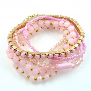 Bracelet fantaisie perles 7 rangs - rose