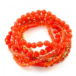 Bracelet fantaisie perles 7 rangs - orange