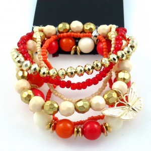 Bracelet fantaisie perles 6 rangs - rouge