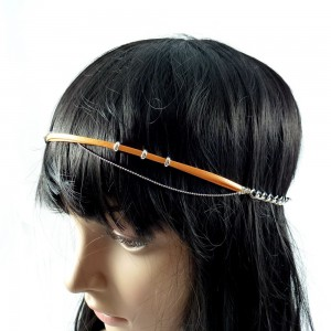 Headband bijoux chaine maille fantaisie - orange