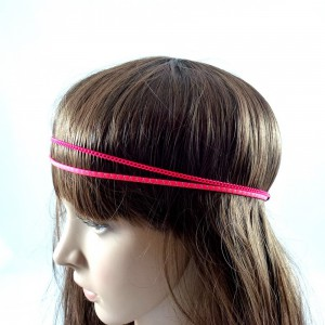 Headband/bandeau/bijou de cheveux double rangs - rose fluo