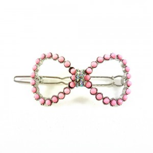 Pince cheveux noeud perles et strass - rose