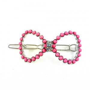 Pince cheveux noeud perles et strass - fuchsia