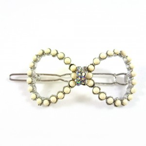 Pince cheveux noeud perles et strass - beige