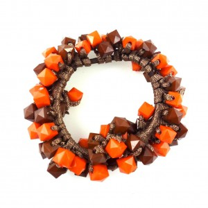 Bracelet perles ou élastique cheveux - marron/orange