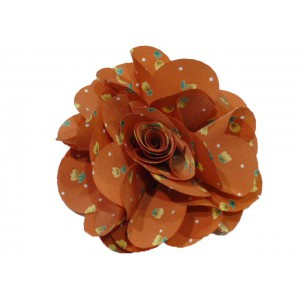 Broche fleur motif liberty - orange