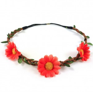 Headband couronne de fleurs marguerite - orange