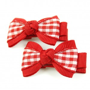 pince cheveux enfant 2pcs motif carreau - rouge