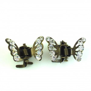 Mini pince cheveux crabe papillon en strass 2pcs - bronze