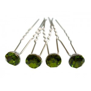 Epingle cheveux en cristal 4pcs - olivine