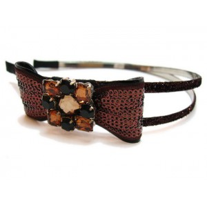 Serre tête sequin double rangs - marron