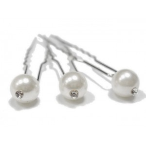 Epingle cheveux en perles 6pcs - blanc