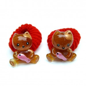 Elastique/mousse enfant chat 2pcs - rouge